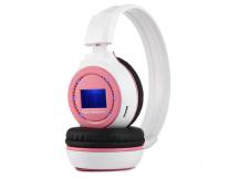 Auricular inalambrico con reproductor MP3 blanco y rosa