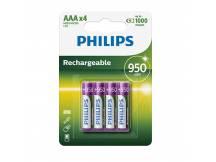 Pilas recargables Philips AAA 950mAh X4