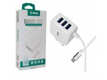 Cargador Inkax 3.1A c/cable tipo C + 3 USB