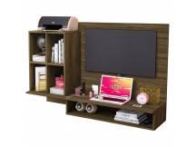Rack para TV con escritorio cedro